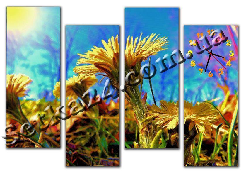"""Часы настенные модульные """"Цветы на лугу"""" (120х80 см) М73"""