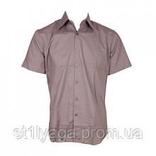 XL Рубаха с коротким рукавом в пастельно-розовом цвете  slim fit