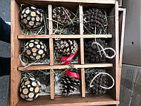 Новогодние игрушки деревянные шары, шишки, 30х30см