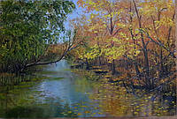 Картина маслом на холсте 40х60 Встреча лета с осенью