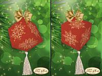 Схема для вышивки бисером Подвеска-кубик Золотые снежинки В-019