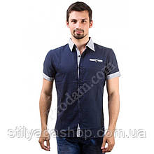 L/48 Рубашка мужская темно-синяя короткий рукав