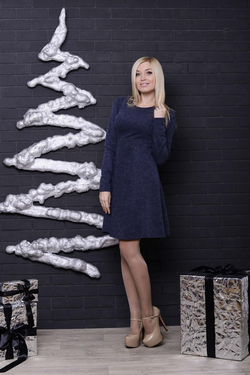Трикотажное женское платье джинс