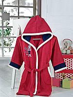 Детский халат ALTINBASAK красный с девочкой 8-10 лет.