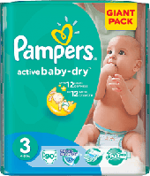PAMPERS Active Baby 3 MIDI 90 шт.(4-9kg) GIANT PACK