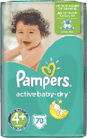 PAMPERS Active Baby 4+ MAXI PLUS 70 шт. (9-16kg) GIANT PACK