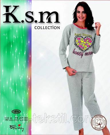 К.S.M пижама женская на байке серая Турция разные рисунки, фото 2