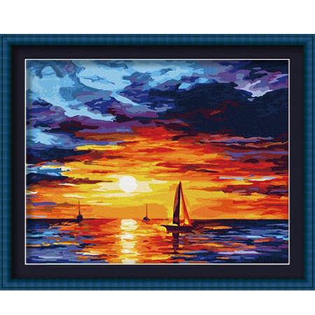 Набор для рисования картины по цифрам Корабль на закате