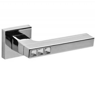 Ручка дверная Fuaro CRYSTAL FLASH DM SN/CP-3 матовый никель/хром