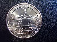 "25 центов 2011 США ""Геттисбург"" (Gettysburg) 6-й парк"