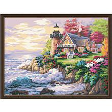 Картина по цифрам с красками Домик у маяка