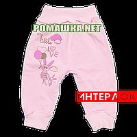 Штанишки на широкой резинке р. 68 демисезонные ткань ИНТЕРЛОК 100% хлопок ТМ Алекс 3297 Розовый1