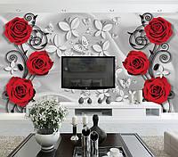 """3д обои фото на стену """"Красные Розы"""""""