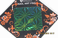 Фольга для литья и дизайна ногтей в листе .  Сине-зеленая голография. Снежинки.