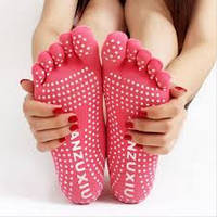 Носки для йоги и танцев со стопором на подошве с пальцами, фото 1