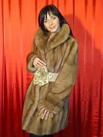 Шуба натуральная женская норковая Италия цвет виски 0059