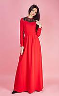 Красное платье с черным ажуром