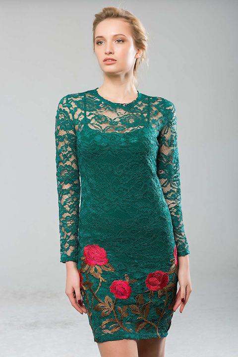 332ac6ee5a71617 Платье из гипюра с вышивкой ROSE зеленое - цена 950 грн. Купить в ...