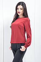 Блуза лодочка шовк-сатин Армані вишня вишневий, s