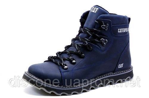 Ботинки на меху CAT Caterpilar, зимние, мужские, натуральная кожа, синие