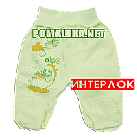 Ползунки (штанишки) на широкой резинке р. 68 демисезонные ткань ИНТЕРЛОК 100% хлопок ТМ Алекс 3165 Зеленый
