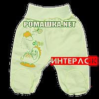 Ползунки (штанишки) на широкой резинке р. 62 демисезонные ткань ИНТЕРЛОК 100% хлопок ТМ Алекс 3165 Зеленый