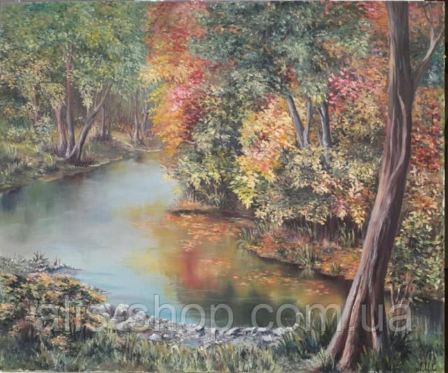 Картина маслом на холсте 50х60 Осенняя игра красок на реке