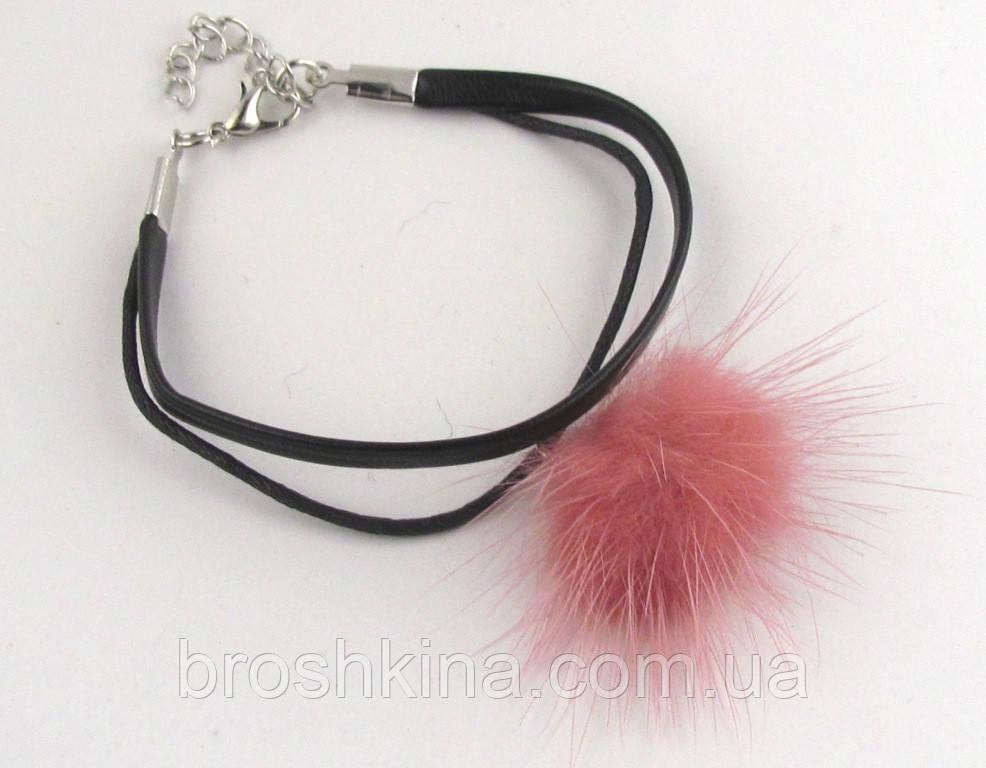 Кожаный браслет с натуральным розовым мехом