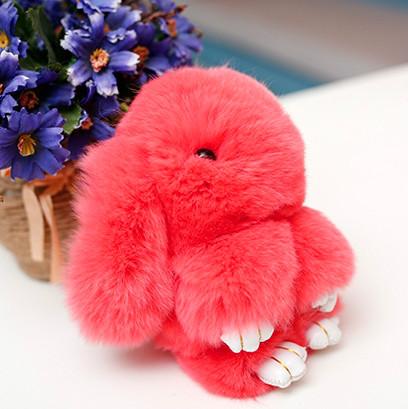 Брелок на сумку меховой кролик Rex Fendi charm (Рекс Фенди) коралловый, 14 см