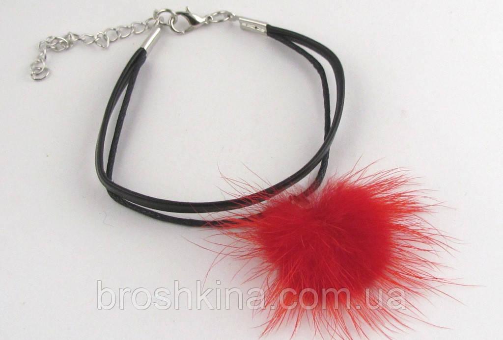 Кожаный браслет с натуральным красным мехом