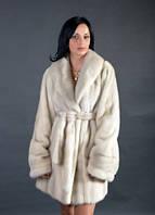 Шуба натуральная женская норковая жемчужно-пепльного цвета 0150