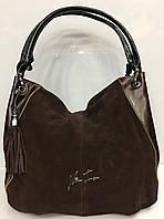 Сумка -мешок кожаная Velina Fabbiano коричневая