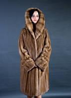 Шуба натуральная женская норковая большого размера цвет виски-орех 0152