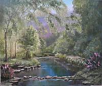 Картина маслом на холсте 50х60 Река в летнем лесу