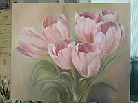Картина на холсте маслом 50х60 Розовые тюльпаны