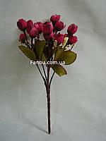 Искусственный  букет английской розы-нов (цвет темно бордовый)