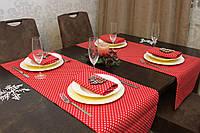 Ранер/дорожка и салфетки (2 шт.+4 шт.) для стола Красные звездочки Набор текстильный на кухню №1