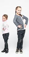 Лосины детские на девочку с кожей на коленях в клетку, р.110-146