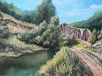 Картина маслом на холсте 50х60 Дорога в лес