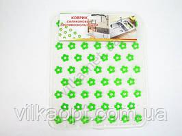 """Коврик силиконовый в мойку """"Зеленые цветы"""" 26,5 х 31,5 см."""