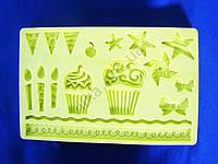 Молд кондитерский силиконовый  Свечи и подарки 12,5 х 19,5
