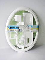 """Зеркало в ванную комнату в пластмассовой рамке ТР2000ЕК """"Tombo"""" с аксессуарами 4 штуки (55*41 cm.)"""