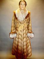 Шуба натуральная женская норковая золотисто-орехового цвета 0179