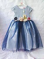 Платья детские нарядные с удлиненной юбкой из фатина и цветами на поясе