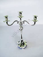 Подсвечник серебро на 3-ри свечи - 43 см.