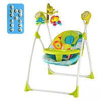 Качель-карусель 1540-4-2 зелено-голубая, 5 скоростей, таймер, 16 мелодий. Кресло-качеля Bambi 2в1 M1540-4-2