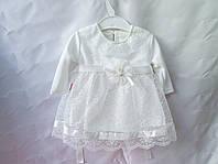 Платье детское нарядное на новорожденных, из велюра белого цвета