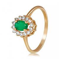 Золотое кольцо с зеленым ониксом