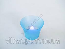 Свеча в стакане голубая 4 см.