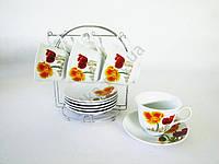 Сервиз чайный из 6-ти на подставке Маки